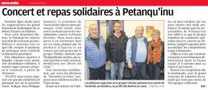 Concert et repas solidaires à Petanqu'inu